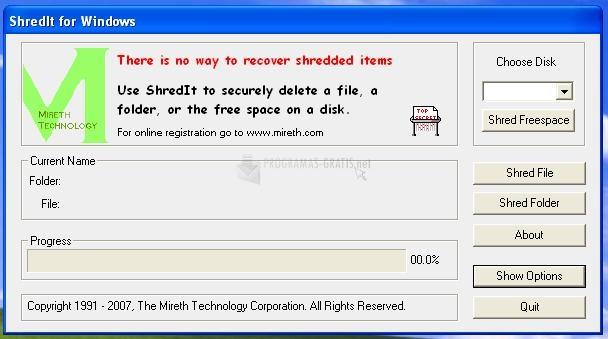 Pantallazo ShredIt for Windows