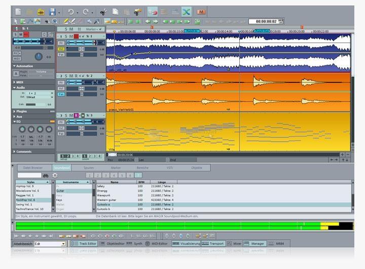 Pantallazo Samplitude Music Studio (English)
