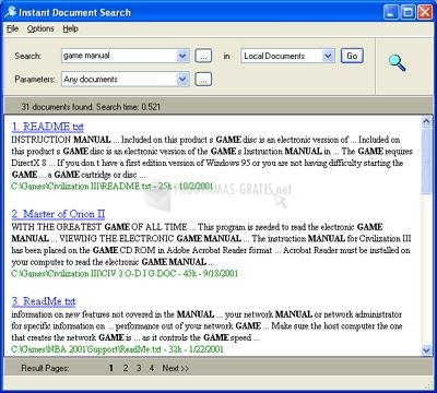Pantallazo Instant Document Search