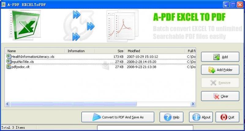Pantallazo A-PDF Excel to PDF