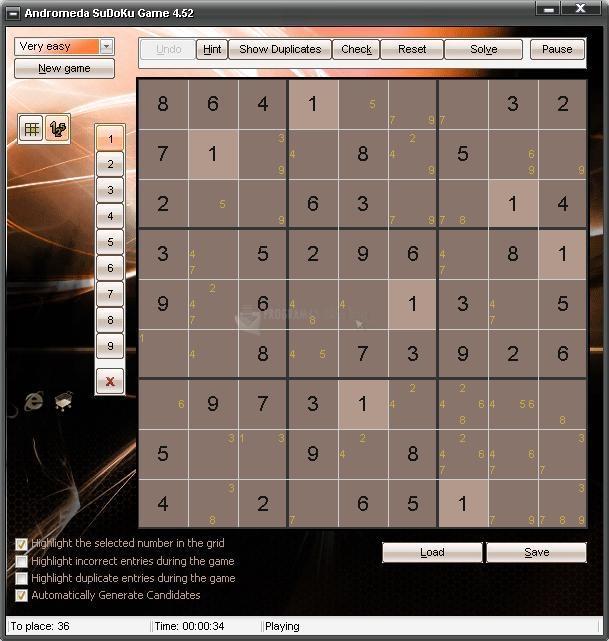 Pantallazo Andromeda Sudoku Game