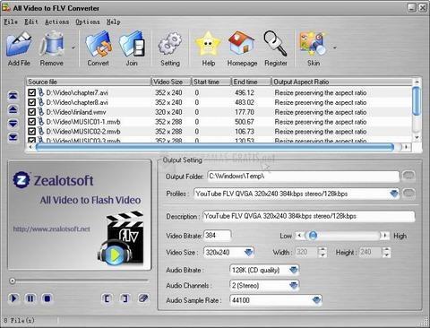 Pantallazo All Video to FLV Converter