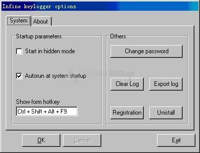 Pantallazo Infine Keylogger Lite