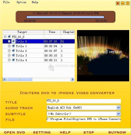 Pantallazo Digiters DVD to iPhone Converter