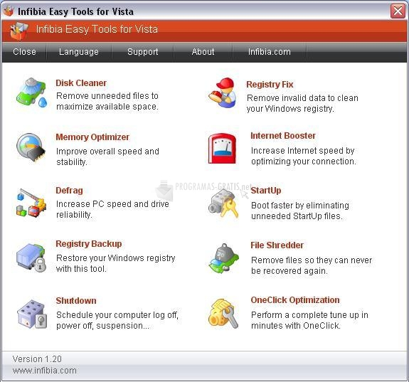 Pantallazo Infibia Easy Tools for Vista