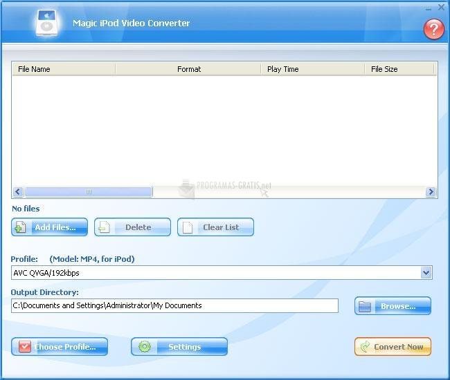 Pantallazo Magic iPod Video Converter
