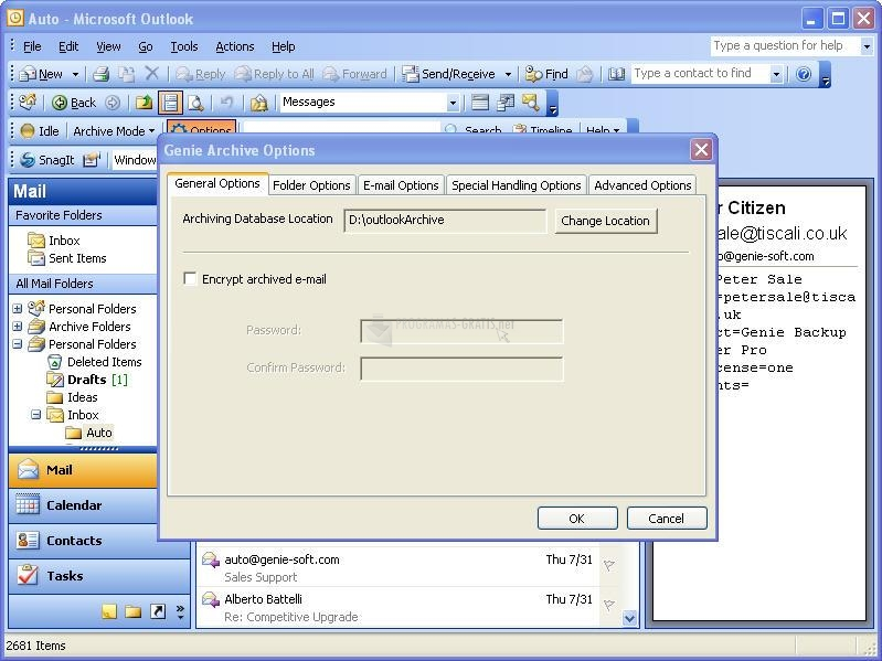 Pantallazo Genie Archive for Outlook