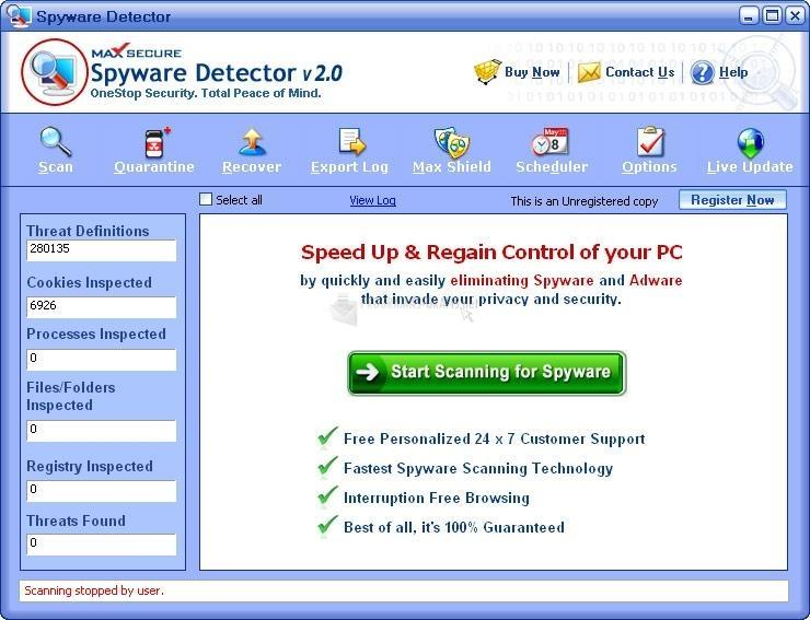 Pantallazo Max Spyware Detector