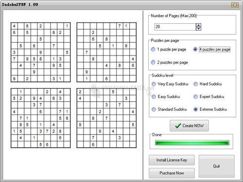 Pantallazo Sudoku2PDF Pro
