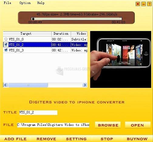 Pantallazo Digiters Video to iPhone Converter