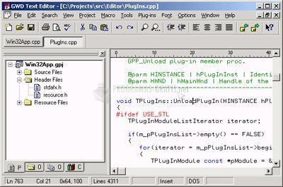 Pantallazo GWD Text Editor English