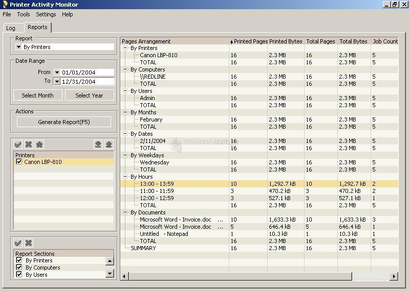 Pantallazo Printer Activity Monitor