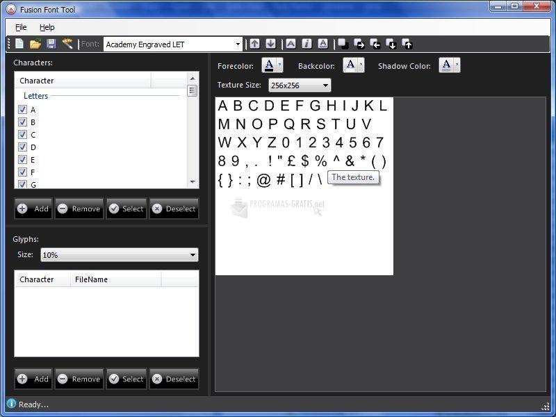 Pantallazo Fusion Font Tool