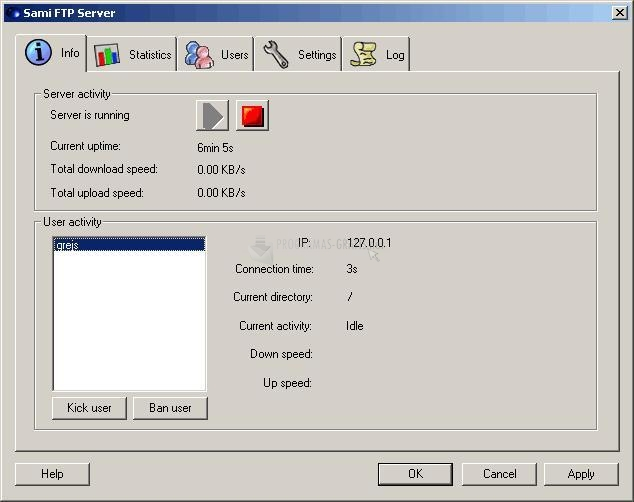 Pantallazo Sami FTP Server