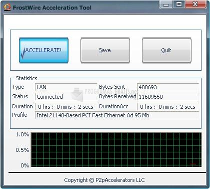 Pantallazo FrostWire Acceleration Tool