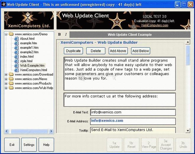 Pantallazo Web Update Builder