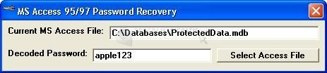 Pantallazo MS Access 95/97 Password Recovery