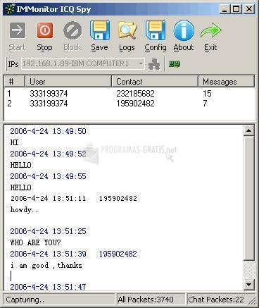 Pantallazo IMMonitor ICQ Spy