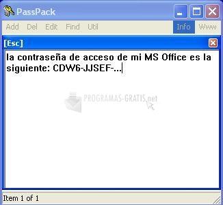 Pantallazo PassPack