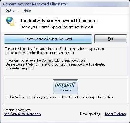 Pantallazo Content Advisor Password Eliminator