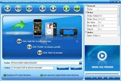 Pantallazo Amadis DVD to iPhone Converter