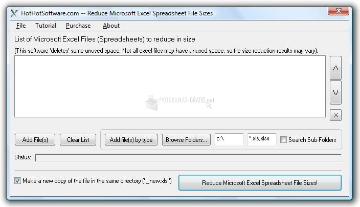 Pantallazo Excel File Size Reduce