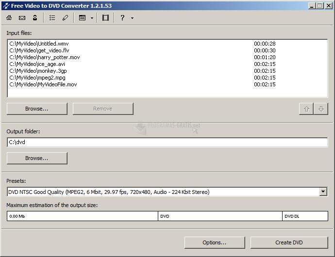 Pantallazo Free Video to DVD Converter