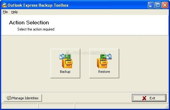 Pantallazo Outlook Express Backup Toolbox