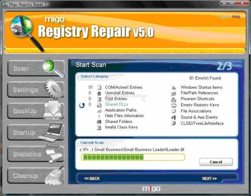 Pantallazo Migo Registry Repair