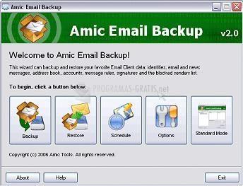 Pantallazo Amic Email Backup