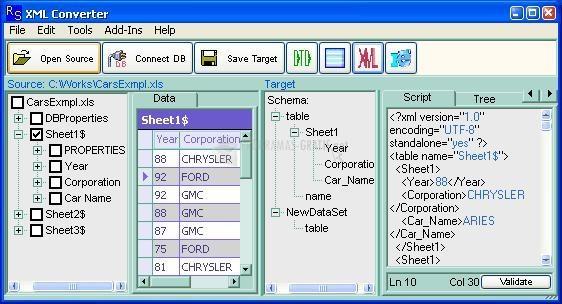 Pantallazo XML Converter Standard Edition