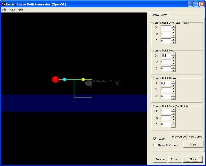 Pantallazo Bezier Curve Path Generator