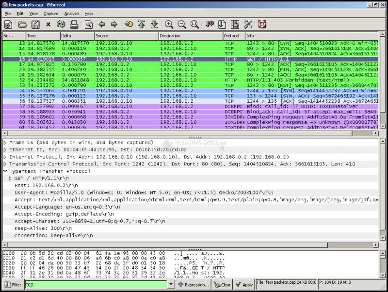 Pantallazo Ethereal Network Analyzer