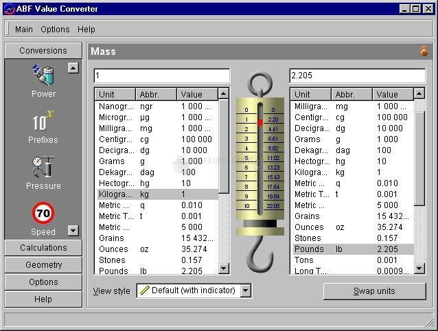 Pantallazo ABF Value Converter