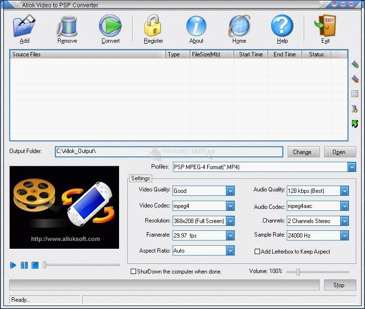 Pantallazo Allok Video to PSP Converter