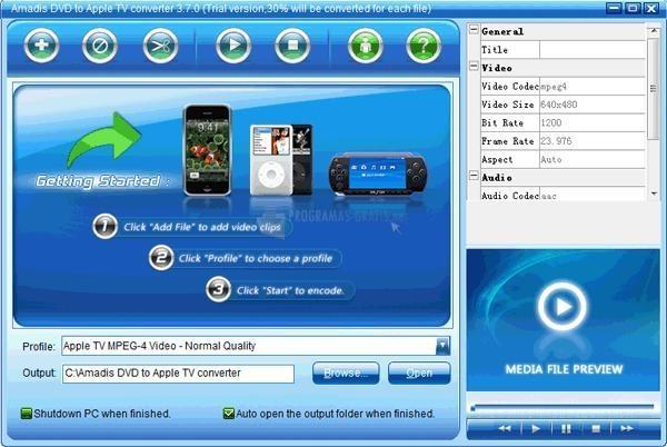 Pantallazo Amadis DVD to Apple TV Converter