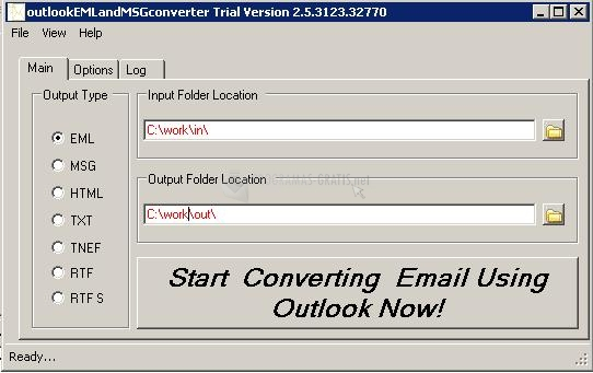 Pantallazo Outlook EML and MSG converter