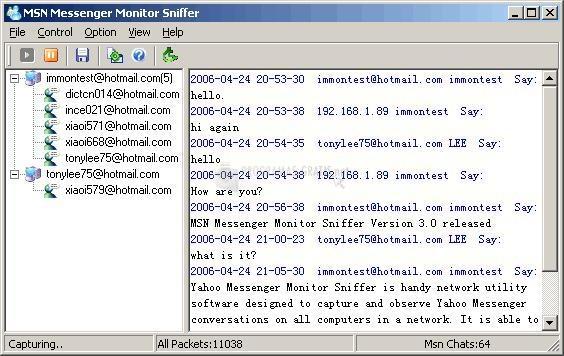 Pantallazo MSN Messenger Monitor Sniffer