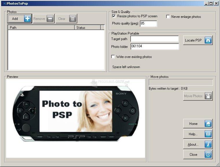 Pantallazo Inzomia Photo to PSP