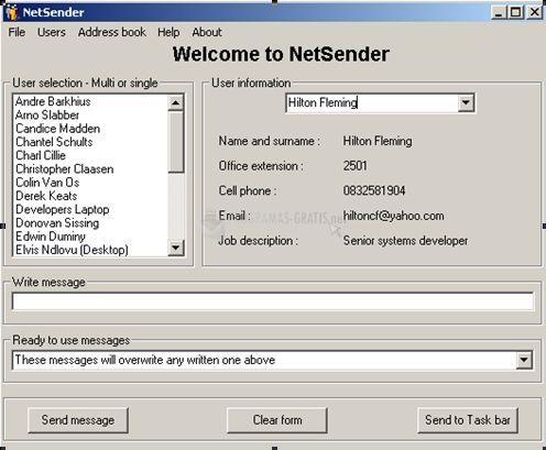 Pantallazo NetSender XP