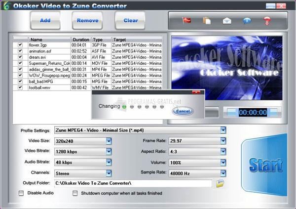 Pantallazo Okoker Video to Zune Converter