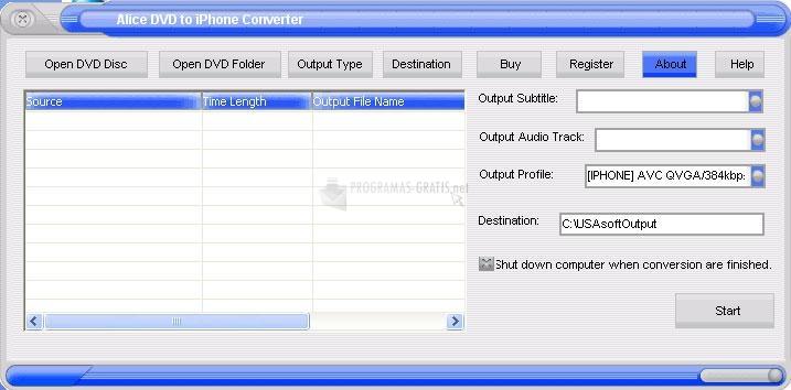 Pantallazo Alice DVD to iPhone Converter