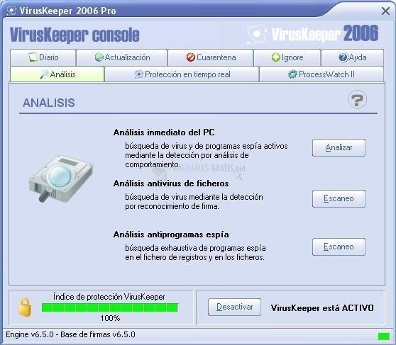 Pantallazo VirusKeeper