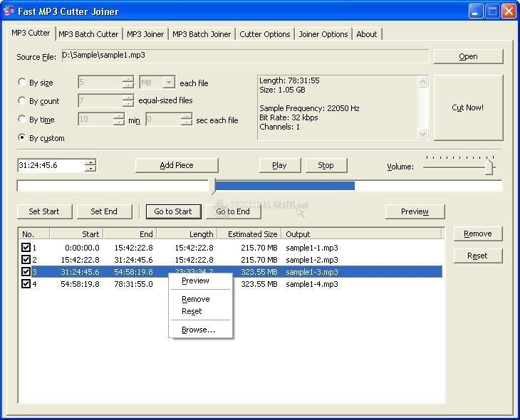 Pantallazo Fast MP3 Cutter Joiner
