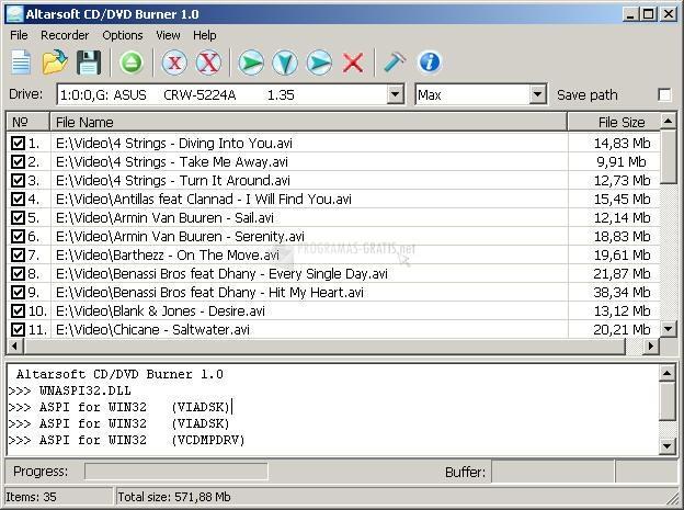 Pantallazo AltarSoft CD-DVD Burner