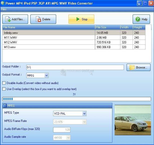 Pantallazo Power MP4 iPod PSP 3GP AVI Video Conv