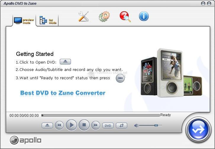 Pantallazo Apollo DVD to Zune