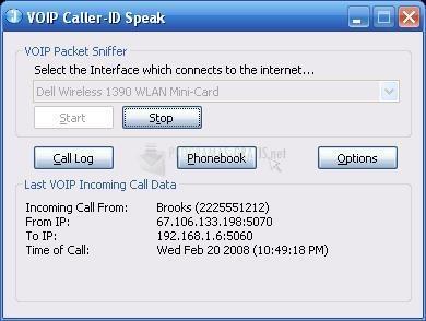 Pantallazo VOIP Caller-ID Speak