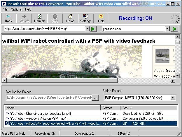 Pantallazo YouTube to PSP Converter