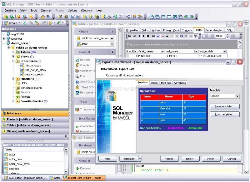 Pantallazo EMS SQL Manager for MySQL